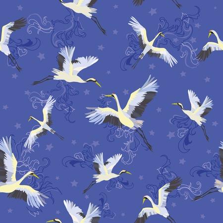 Japanese seamless pattern of birds and water. Traditional vintage fabric print. White and blue indigo background. Kimono design. Monochrome vector illustration. Çizim