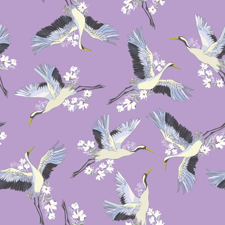 Japanese seamless pattern of birds and water. Traditional vintage fabric print. Kimono design. Monochrome vector illustration.