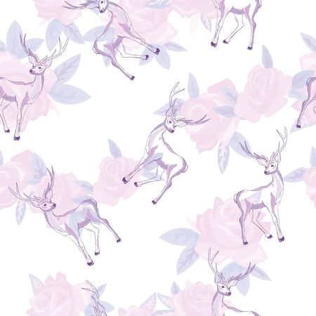 Vector seamless geometric pattern with deers. Иллюстрация