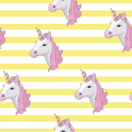 Unicorn and rainbow seamless pattern isolated on yellow and white background