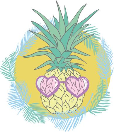 Pineapple with sunglases and headphones. Summer consept.