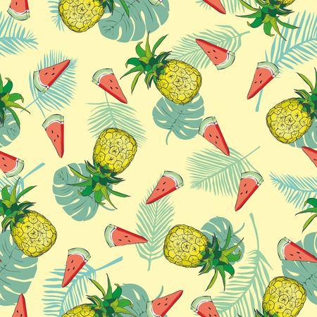 Pineapple seamless pattern. Vector illustration. Ilustração