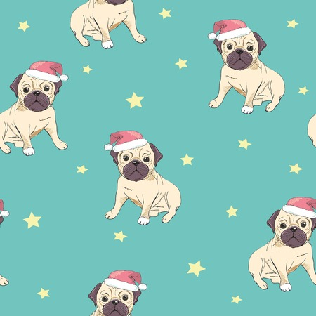 Seamless pattern with image of a Funny cartoon pugs puppies on a green background. Vector illustration.