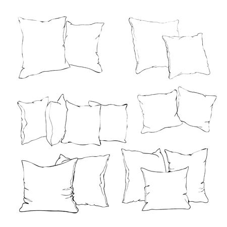 sketch illustration of pillow, art, pillow isolated, white pillow, bed pillow Imagens