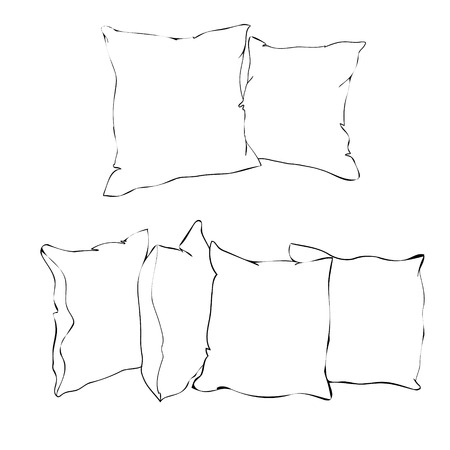 sketch illustration of pillow, art, pillow isolated, white pillow, bed pillow Stock fotó