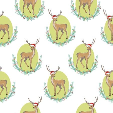Black and white wrapping paper. seamless geometric pattern with deer.