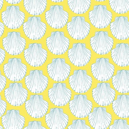 seamless pattern with hand drawn scallop shells. Beautiful marine design elements, perfect for prints and patterns.