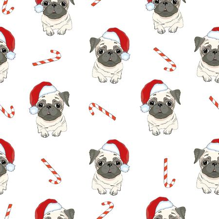 Seamless pattern with image of a Funny cartoon pugs puppies on a blue background. Vector illustration. Standard-Bild - 93060901