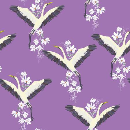 seamless pattern with white cranes Reklamní fotografie - 93061036