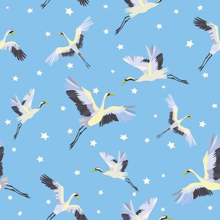 鳥と水の日本のシームレスなパターン。伝統的なヴィンテージファブリックプリント。白と青の藍の背景。着物のデザイン。モノクロベクトルイラ