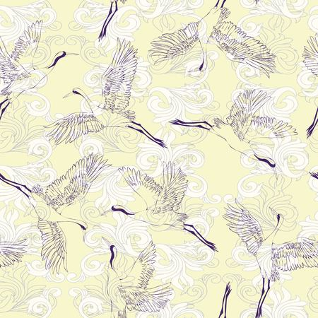 Japanese seamless pattern of birds and water. Traditional vintage fabric print. White and blue indigo background. Kimono design. Monochrome vector illustration. Banco de Imagens