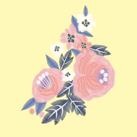 red rose embroidery Фото со стока