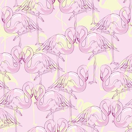 シームレスなフラミンゴパターンベクトルイラスト
