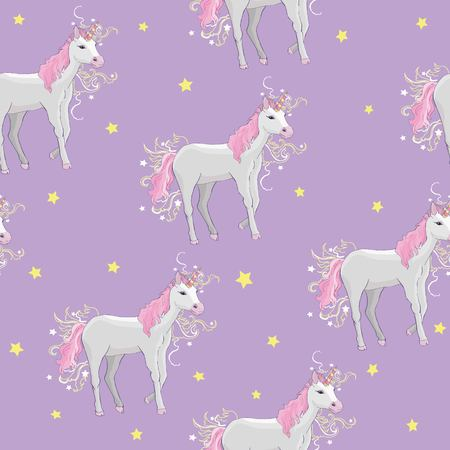 Unicorn and rainbow seamless pattern isolated on white background, animal, wand, princess, balloon, cloud, crown, diamond, fairytale, hand, drawn, abstract, card character decor doodle lovely magical sweet head horn beautiful Vettoriali