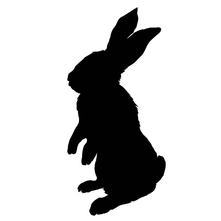 Bunny rodent black silhouette animal, animal, bunny, graphic, hare, icon, illustration, isolated nature pet rabbit silhouette symbol cute design easter  イラスト・ベクター素材