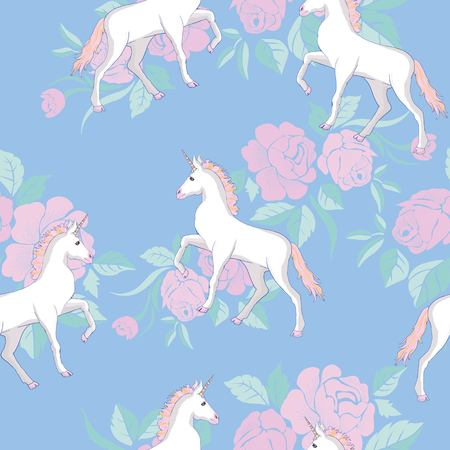 Unicorn and rainbow seamless pattern isolated on white background, animal, wand, princess, balloon, cloud, crown, diamond, fairytale, hand, drawn, abstract, card character decor doodle lovely magical sweet head horn beautiful Illustration
