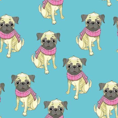 bulldog french pattern vector seamless. graphic illustration. puppy style texture vintage wallpaper