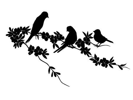 Birds Silhouette - 6 different vector illustrations, flight, flock, foliage, foliate, forest, garden, leaf, maple, nature, nightingale oak pattern plant rowan season sparrow twig warble wild wing Çizim