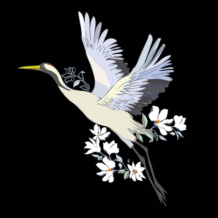 Vector of illustrations bird crane. White stork . isolated object Ilustração