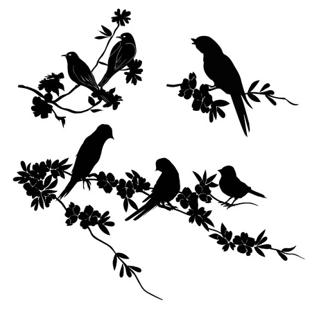 Birds Silhouette - 6 different vector illustrations, flight, flock, foliage, foliate, forest, garden, leaf, maple, nature, nightingale oak pattern plant rowan season sparrow twig warble wild wing  イラスト・ベクター素材