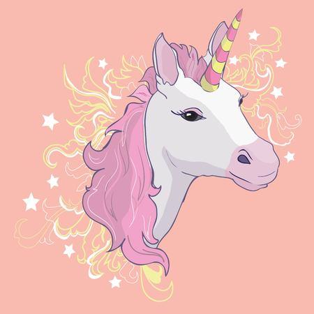 ユニコーンベクトルアイコンを白で分離。頭部の肖像馬ステッカー、パッチバッジ。かわいい魔法の漫画ファンタジーかわいい動物。レインボーホ
