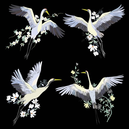 Vector of illustrations bird crane. White stork . isolated object Vettoriali
