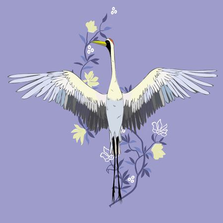 Vector of illustrations bird crane. White stork . isolated object Çizim