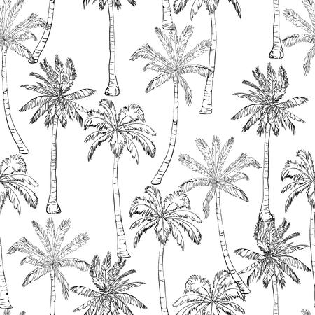 Seamless tropical palms pattern. Summer endless hand drawn vector background of palm trees can be used for wallpaper, wrapping paper, textile printing.Vector illlustration. foliage, natural, tropic, aloha, banana, botanical, eco, green, liana, miami, ornate, painting paper Vettoriali