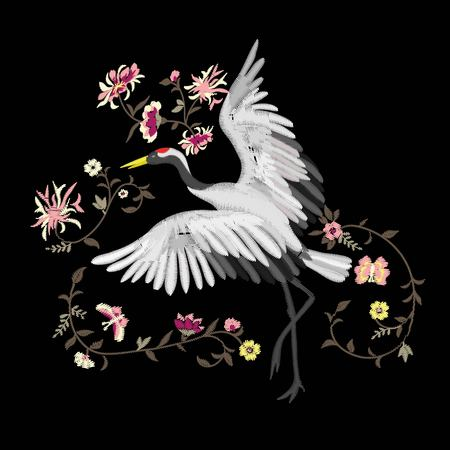 Embroidery. Embroidered design element - bird - crane - in vintage style on a black background.
