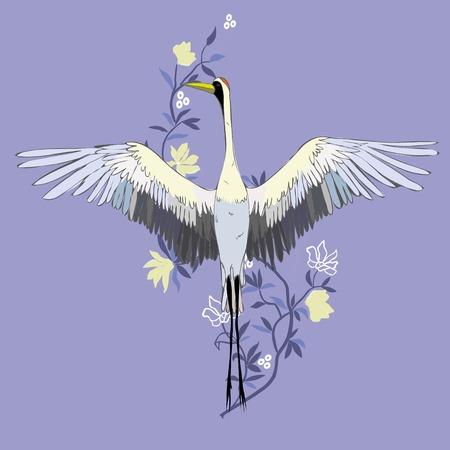 Vecteur d'illustration grue d'oiseau. Cigogne blanche. objet isolé Banque d'images - 93069222