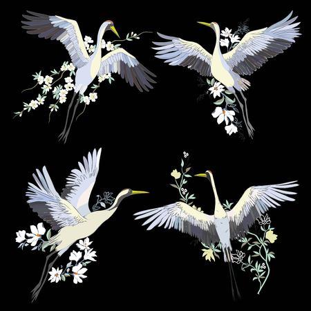 Vector of illustrations bird crane. White stork . isolated object Фото со стока