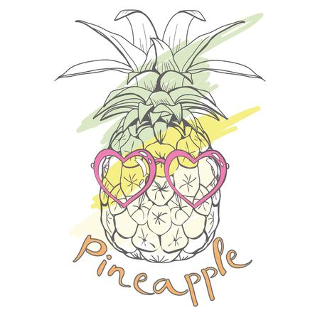 pineapple with glasses tropical, vector, illustration, design, exotic, food, fruit, background, design, exotic, food, fruit, glasses, illustration nature pineapple summer tropical vector drawing fresh healthy isolated plant sweet white dessert hawaii leaf Vettoriali