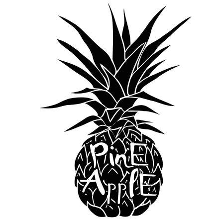 Ananas met glazen tropische, vector, illustratie, ontwerp, exotisch, voedsel, fruit, achtergrond, ontwerp, exotisch, voedsel, fruit, glazen, illustratie natuur ananas zomer tropische vector tekening verse gezonde geïsoleerde plant zoete witte dessert Hawaii blad.