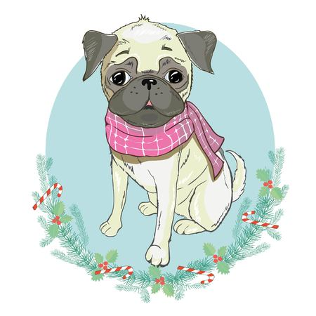 Portrait of cute french bulldog in red Christmas hat on blue background. Vector illustration. Santa Claus. New Years and Christmas. Ilustracja