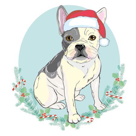 Portrait of cute french bulldog in red Christmas hat on blue background vector illustration Ilustração
