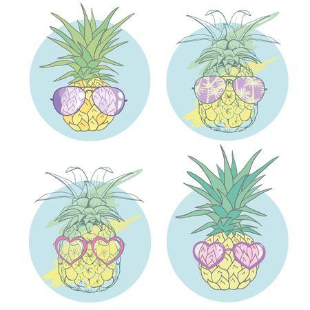 Ananas met tropische glazen, vector, illustratie, ontwerp, exotisch, voedsel en fruit.
