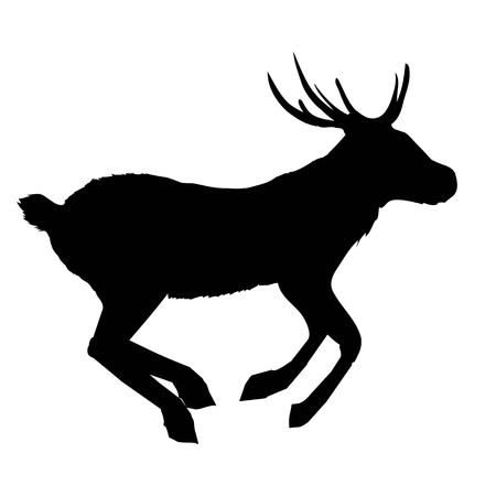 Big horned animal silhouette illustration. Çizim
