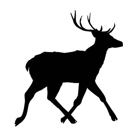 Big horned animal silhouette illustration. Çizim