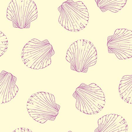 Hand drawn boho illustration. Set of seamless pattern with shells. Vector creative black contour art-work. Ink drawing in bohemian chic style