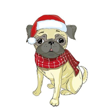 Christmas greeting card. Pug dog with red Santa s hat
