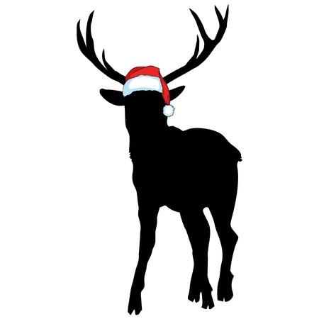 青い背景に鹿とサンタの帽子のベクトル画像。メリークリスマス。動物 写真素材