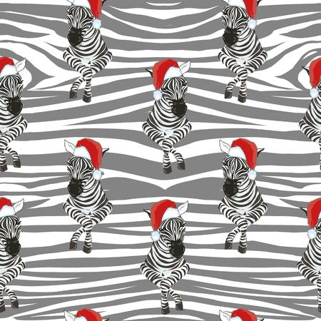 Zebra wearing Santa hats seamless pattern. Savannah Animal ornament. Wild animal texture. Striped black and white. design trendy fabric texture, illustration. Stok Fotoğraf