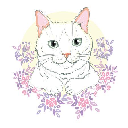 かわいい猫ベクトル、かわいい猫のクリスマスグリーティングカード、新年とクリスマスのためのカバーデザイン、学校の本のための子供のイラス 写真素材