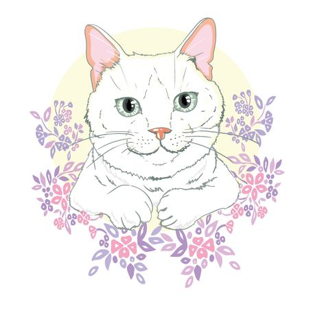 cute cat vector,Cute cat Christmas greeting card,The cover design for new year and Christmas,Children illustration for School books and more. Separate Objects,Romantic hand drawing poster,cat print