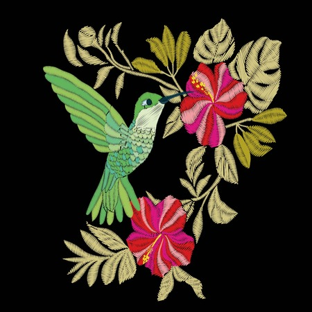 Embroidery with hummingbird and orchid flowers vector illustration. fashion, vector, background, beautiful, black, design, exotic, fancywork, floral, flower green illustration print stitch summer texture thread Banque d'images - 94568207