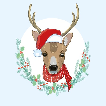 Vector image of an deer and santa hats on blue background. Merry christmas,creative, december, logo, ornament, party, retro, season, seasonal, silhouette tattoo vintage white