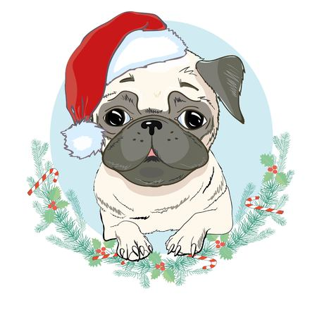 Portrait of cute french bulldog in red christmas hat on blue background. Vector illustration. Santa Claus. New Years and Christmas. isolated, looking, merry, newyear, party, pet, portrait, print, puppy, red, santa, santaclaus, sketch, style, trendy vector white winter xmas hipster Stock Photo