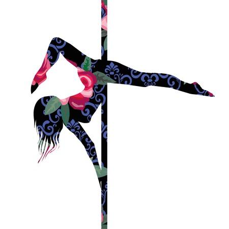 poledance, vector, illustratie, dans, danser, mode, vrouw, fitness, meisje, acrobatische, volwassen kunst aantrekkelijke babe mooie zwarte body club clubbing dans danser mode vrouwelijke fitness meisje Stockfoto