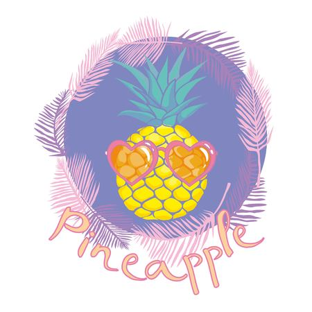 pineapple with glasses tropical, vector, illustration, design, exotic, food, fruit, background, design, exotic, food, fruit, glasses, illustration nature pineapple summer tropical vector drawing fresh healthy isolated plant sweet white dessert hawaii leaf Stock Photo