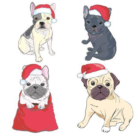 Weihnachtsgrußkarte . Mops Hund mit rotem Santa Hut Standard-Bild - 94521053